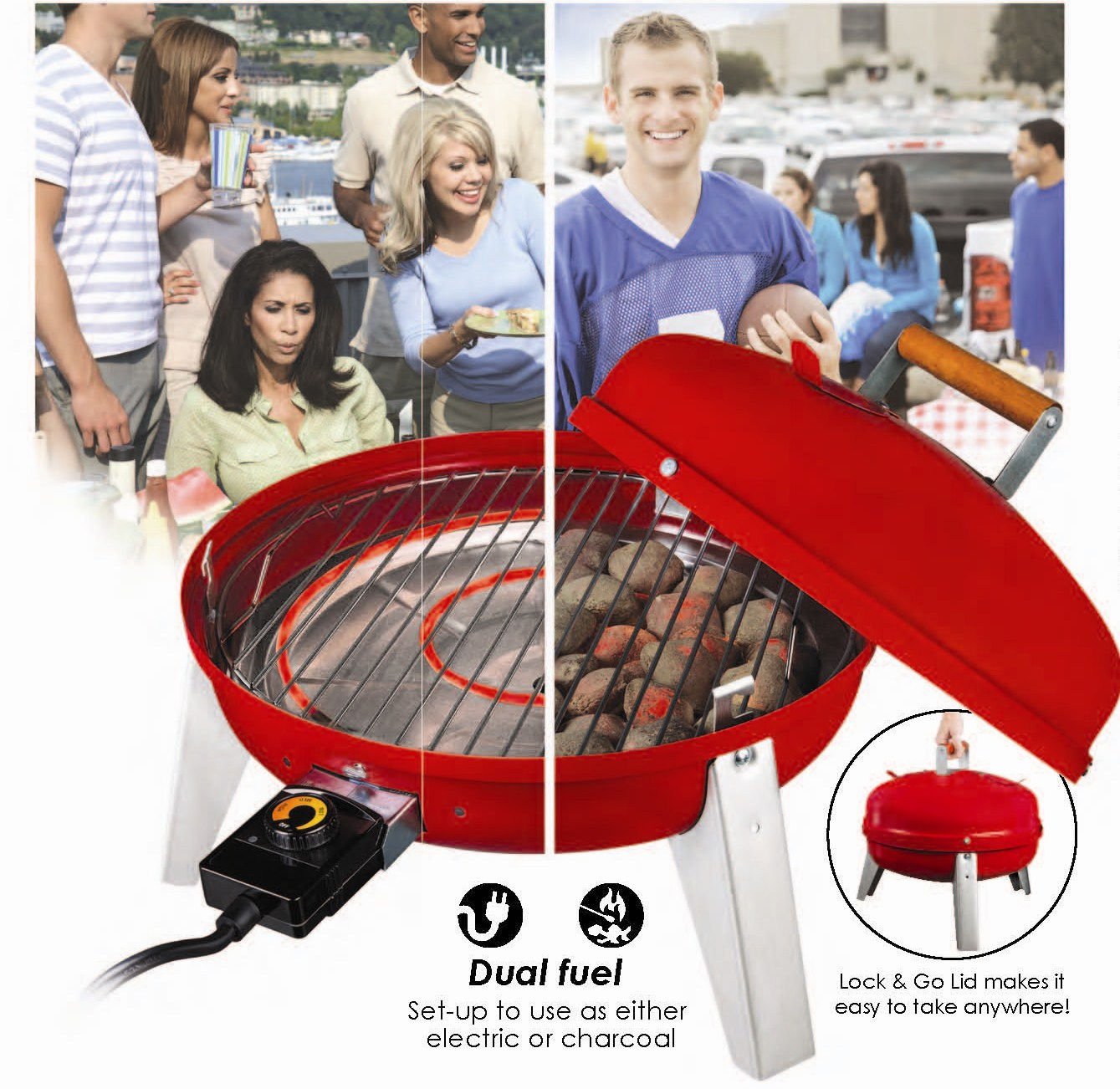 Wherever Grill The Only Dual Fuel Electric Charcoal Bbq