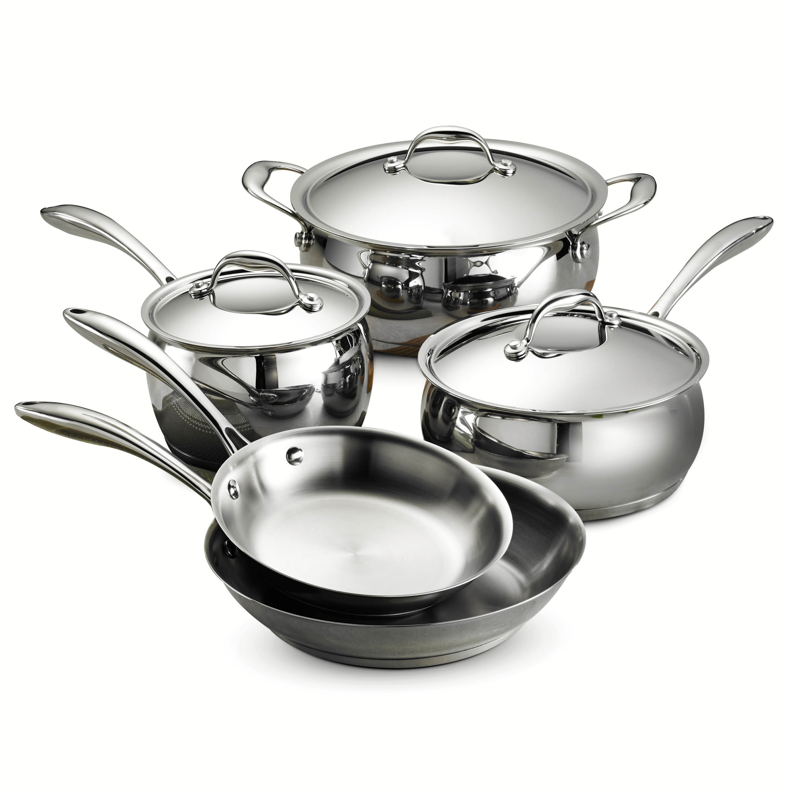 New Tramontina Domus Tri Ply Base Stainless Steel 8 Piece